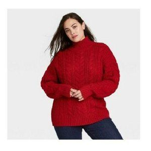PLUS SIZE MOCK TURTLENECK PULLOVER SWEATER RED X